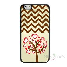 For iphone 4/4s 5/5s 5c SE 6/6s 7 plus ipod touch 4/5/6 back skins cellphone cases cover Heart Tree Pattern With Brown Chevron