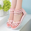 Shoes Woman Sandals Zapatos Mujer Sweet Ladies Shoe Low Heels Summer Bohemia Flower Beach Party Roman