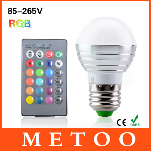Dimmable E27 LED Lamp RGB 85-265V 110V 220V Led Light 3W 16 Colors Changing Bulb Lampada Bombillas Lanterna+ IR Remote Control(China (Mainland))