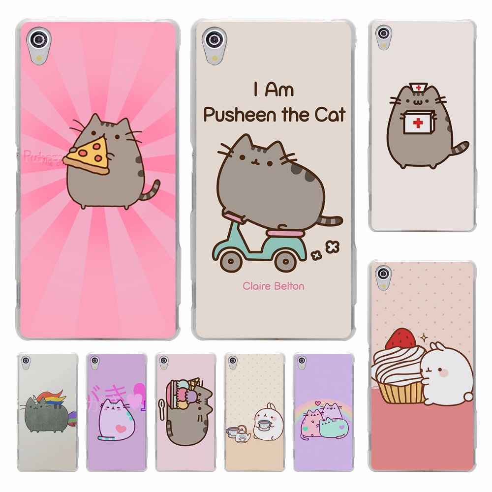 Lovely Pusheen Cat sweety hard transparent Cover Case Sony Xperia z5 compact z5 premium z4 z3 M4 M5 XA
