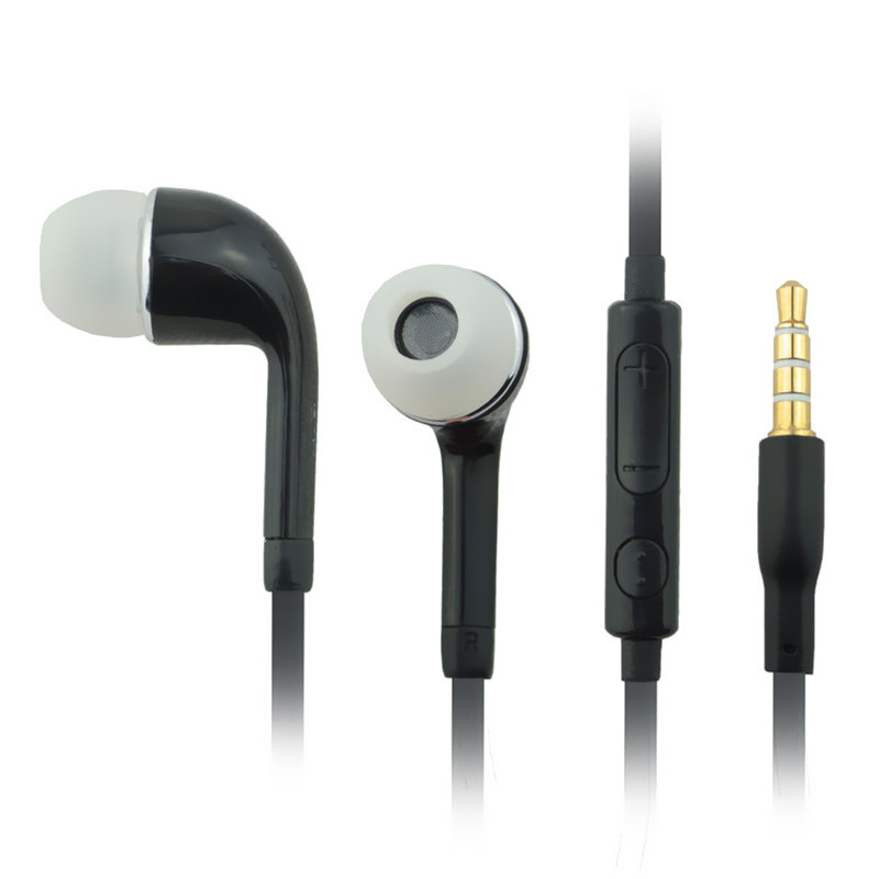 Hot selling Headphone Earphone headset With Volume Line Control Unit and Mic For Samsung Galaxy S2 S3 S4 S5 Galaxy Note Black