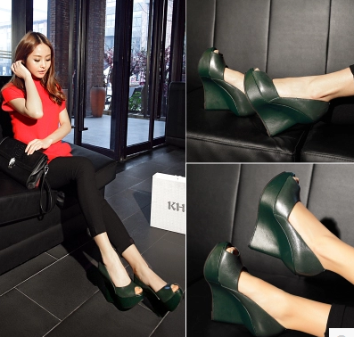 2016 European and American big fashion shoes slope with a single shoe leather fish head high with full leather high-heeled shoes