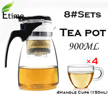 tea set High Quality Hot Sale Heat-Resistant Clear Simple Glass tea pot (900ml Teapot + 4 Handle Cups 150ml )tea kettle ETP002#8