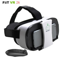 FiiT VR 2S Head Mount 3 D Cardboard Virtual Reality Goggles VR Headset Glasses Phone 3D Video Game Private Theater+Controller(China (Mainland))