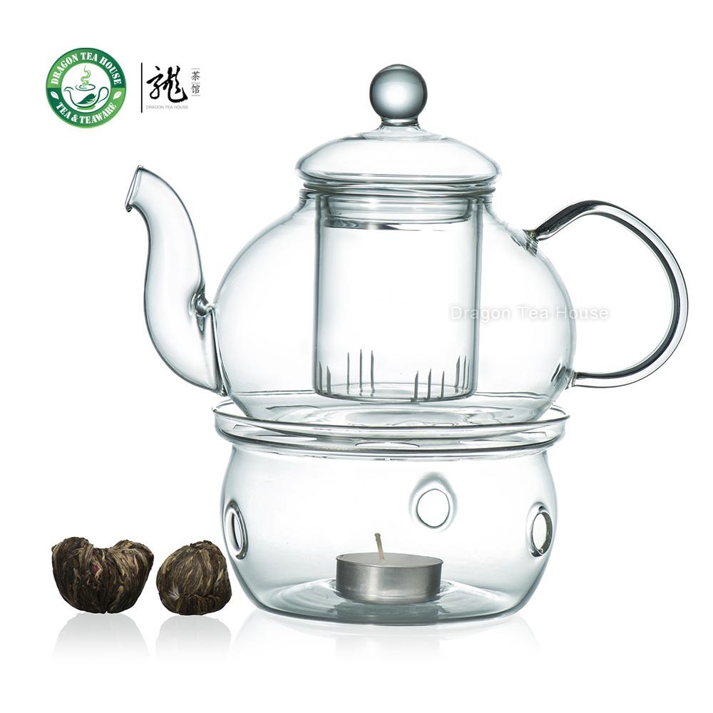 12 Types Blooming Tea + Heat Resistant Glass Teapot 700ml 23.6 oz+ Glass Warmer(China (Mainland))