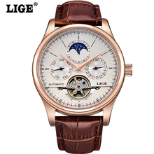 Fashion Luxury Brand LIGE Men Wacth Tourbillon Calendar week Automatic Mechanical Watch Mens Watches Leather relogio masculino