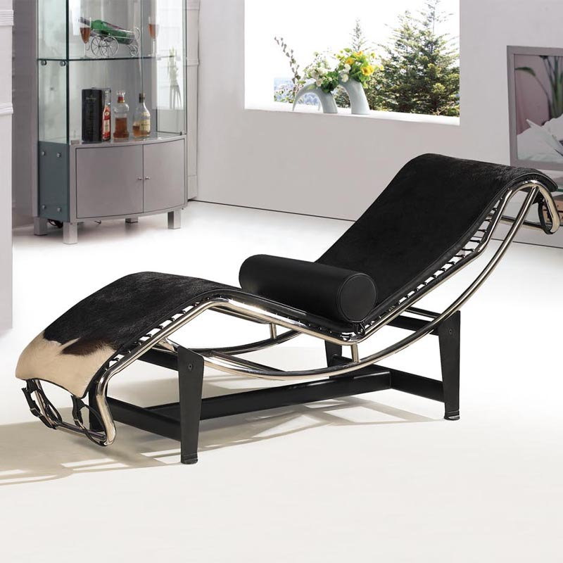 Black and white cow leather lc4 chaise lounge minimalist for Black and white chaise lounge