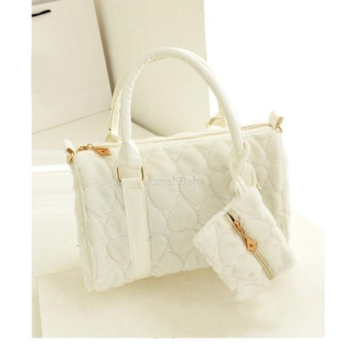 Bolsos Promotion Real Two Handbags Bolsa Women's Bags 2015 Retro Ladies Girls Love Heart Plush Bag Handbag Shoulder With Purse (China (Mainland))