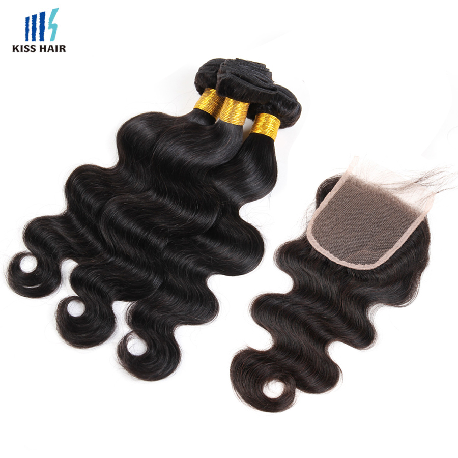 Peruvian Virgin Hair Body Wave with Closure KissHair Peruvian Virgin Hair With Closure Wet and Wavy Human Hair with Lace Closure