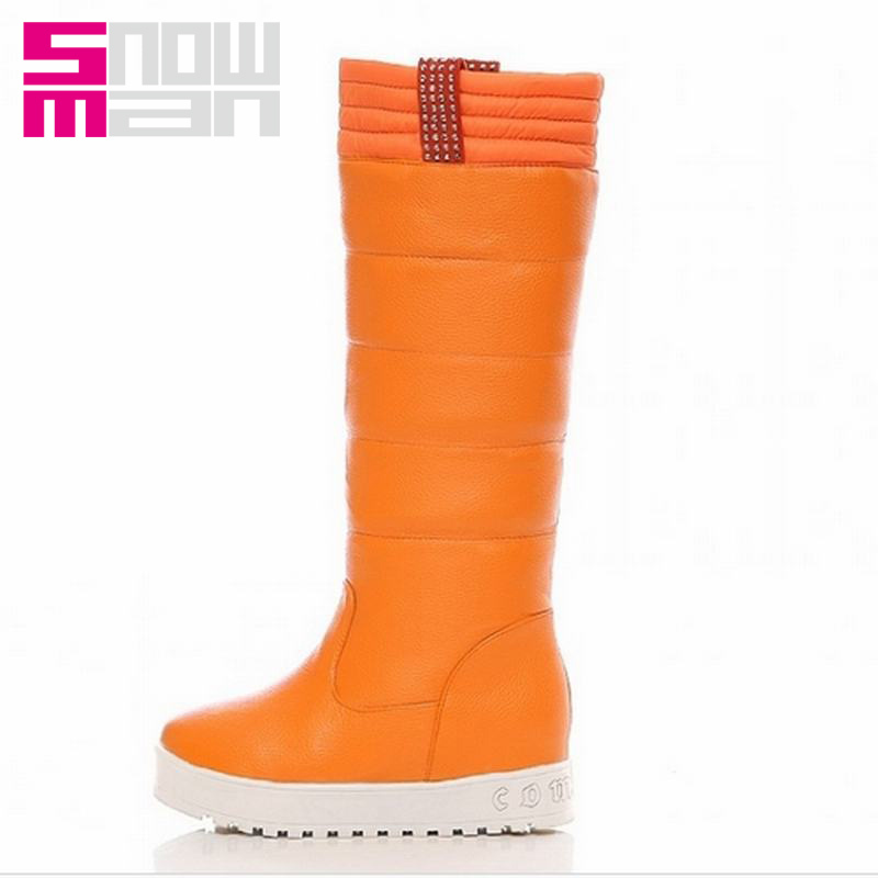 2015 Hidden Wedges Snow Shoes Snow Boots Platform Shoes Warm Winter Boots Women Shoes Woman Brand Rhinestone Knee High Boots