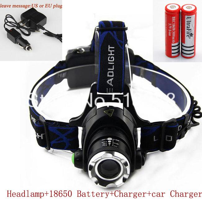 High Power 1600 Lumens CREE Q5 LED Headlamp Headlight 3 Modes Head Light Lamp Bicycle Cycling + Charger 18650 Battery - HF TECH CAR Store store