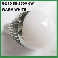 free shipping 20pcs/lot 6W GU10 led bulb lamp, 85V-265V warm white 110V LED bulb(China (Mainland))