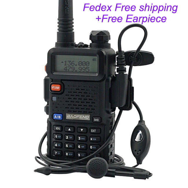 Free Shipping by Fedex (2pcs/lot) The most popular vhf(136-174) uhf(400-520mhz) dual band portable transceiver Baofeng UV-5R(China (Mainland))