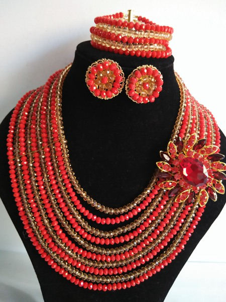 2016-Luxury African beads jewelry set Red Crystal beads bride jewelry nigerian wedding african beads jewelry Set KL-1267<br><br>Aliexpress