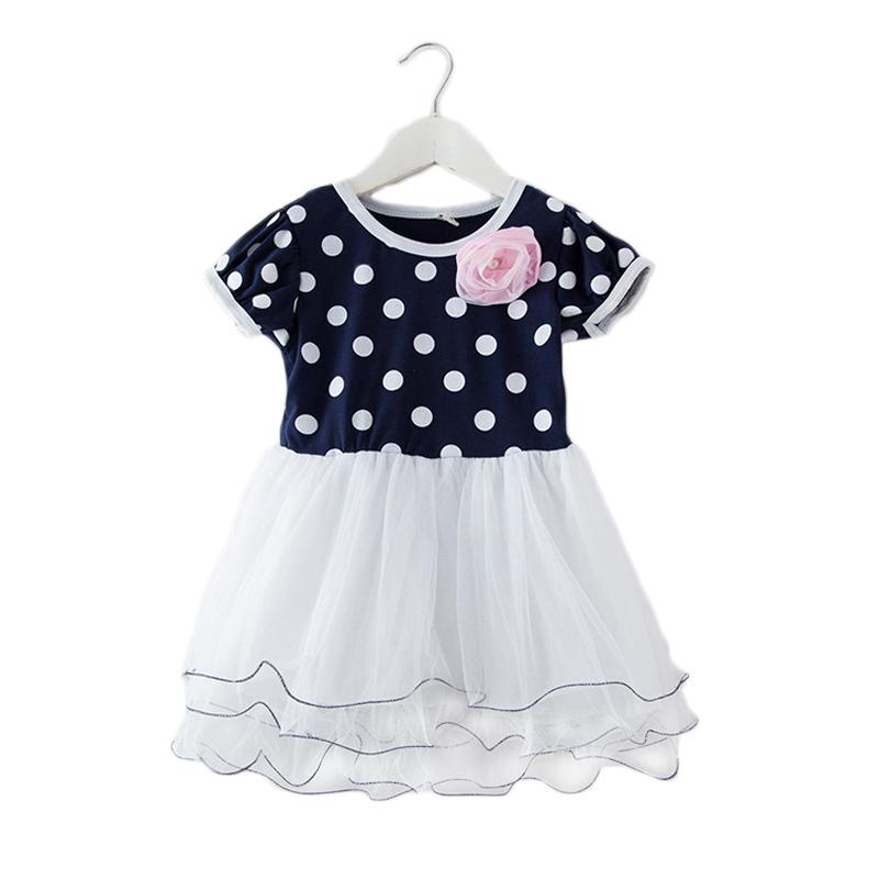 Polka Dots Girls Summer One-piece Dress Dotted Kids Short Sleeve Tutu Mesh Dress With Flower Baby Girl Tiered Cake Dot Dress<br><br>Aliexpress