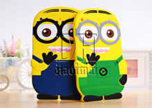 Hot Sale New Arrival Cute Cartoon Model Despicable Me Yellow Minion Silicon Material Case Stand Cover For ipad 2 3 4 Ipad 4(China (Mainland))