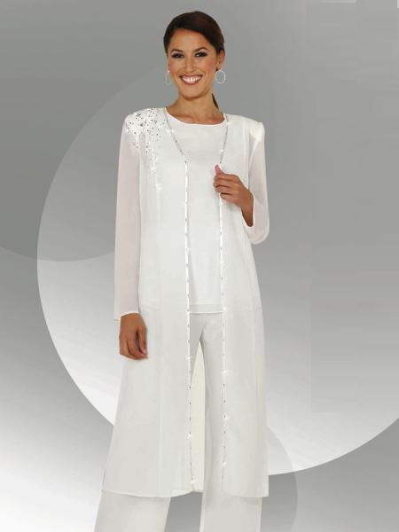 White Chiffon Long Sleeves Mother of the Bride Pant Suits With Long Blouse Sequins Beaded Mother of Groom Pant Suit(China (Mainland))