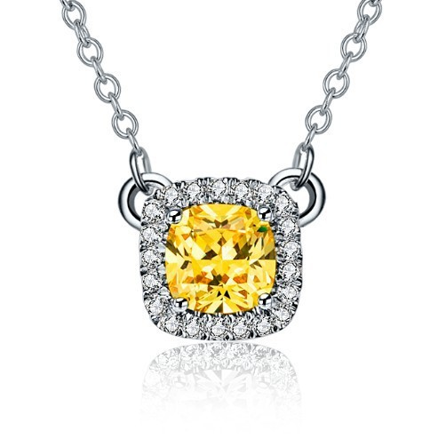 Top Quality 3CT Golden SONA Synthetic Diamond Necklace Pendant Platinum Plated Necklaces & Pendants 925 Sterling Silver Jewelry(China (Mainland))