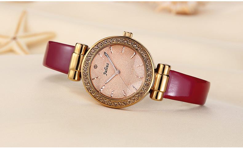Julius Hexagram Star Glass 5 Colors Lady Woman Watch Quartz Hours Best Fashion Dress Bracelet Leather Girl Birthday Gift BOX 778
