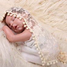 Tassel Pompon Lace Baby Photography Props Lacy Flower Newborn Photography Wraps Infant Scarf Swaddling Photo Props Accessories(China)