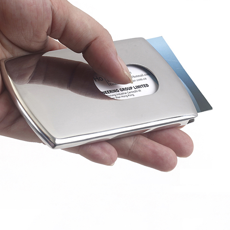 New business card holder stainless steel women men thumb slide out new 1 piece business card holder stainless steel women men thumb slide out pocket id banks colourmoves