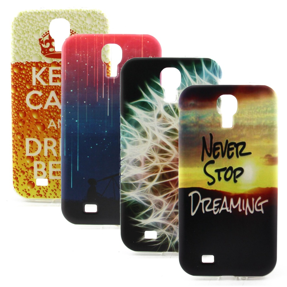 Case for Samsung Galaxy S4 Mini Never Stop Dreaming Printed Colorful Design Back Cover Soft Silicone TPU Mobile Phone Case(China (Mainland))