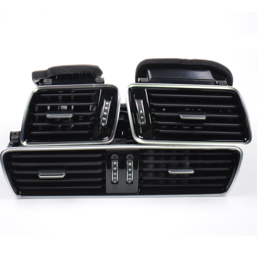 Qty 3 OEM Black Piano Paint Chrome Car Center Console Air Condition Vents For VW Passat B6 B7 CC R36 3AD 819 701 A 3AD 819 702 A(China (Mainland))