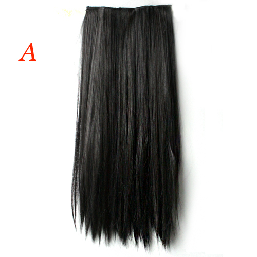 26 Inch Long Straight Hair One piece 5 clips in hair extensions Full head top 5 Colors (China (Mainland))