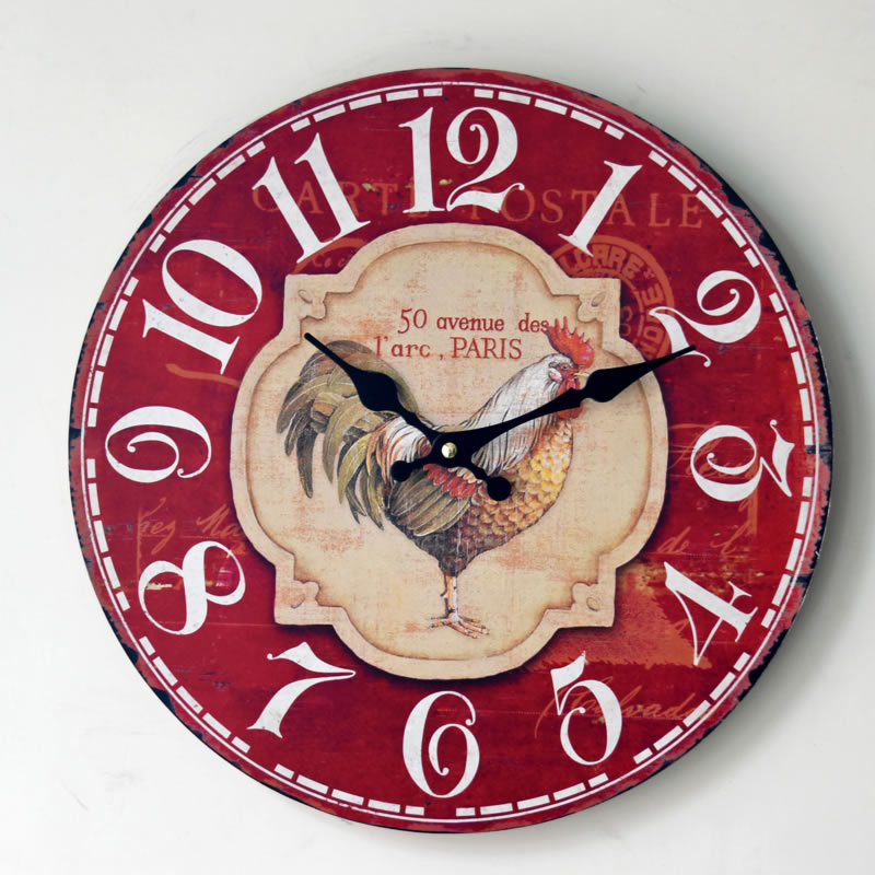 Large Vintage Rustic Wooden Wall Clock Kitchen Antique Shabby Chic Retro Home decor art Wall Clock