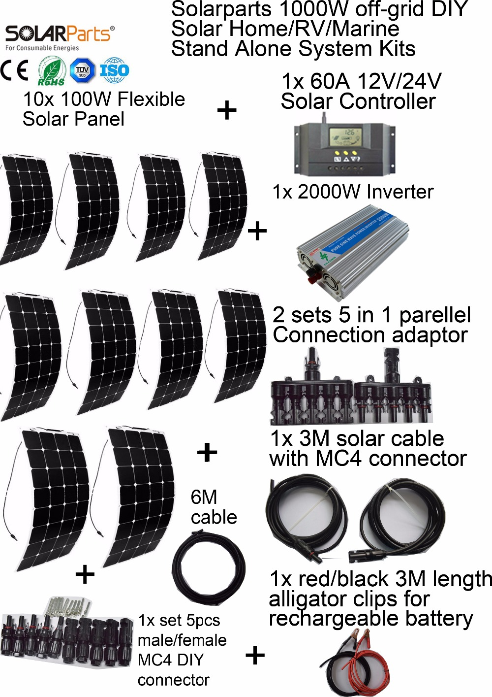 solarparts 1000w off grid solar system kits flexible solar panel  controller inverter cable