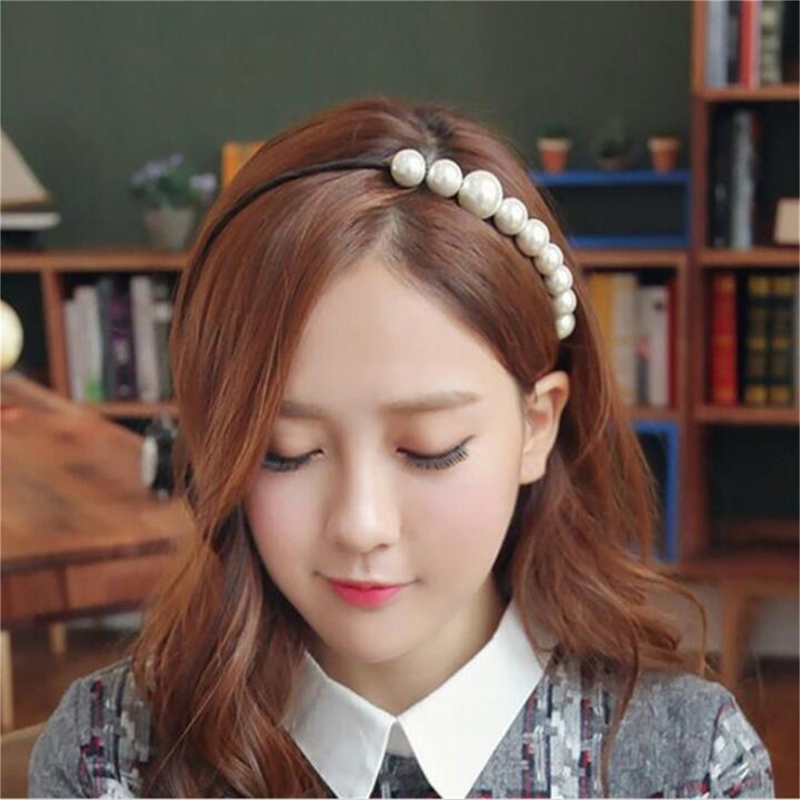 2016 Unique Design Fashion Jewelry Wholesale Factory Supplier Black Ribbon White Pearl Hairbands Hair Accessories t5(China (Mainland))