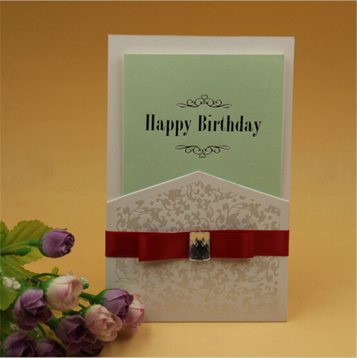 2015 hot sales handmade luxury wedding invitation card designs with ribbon(China (Mainland))