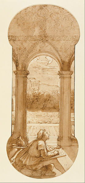Canvas Art Prints Stretched Framed Painting Federico Zuccaro <font><b>Italian</b></font> Taddeo Copying Raphael Frescoes Loggia Villa Farnesina