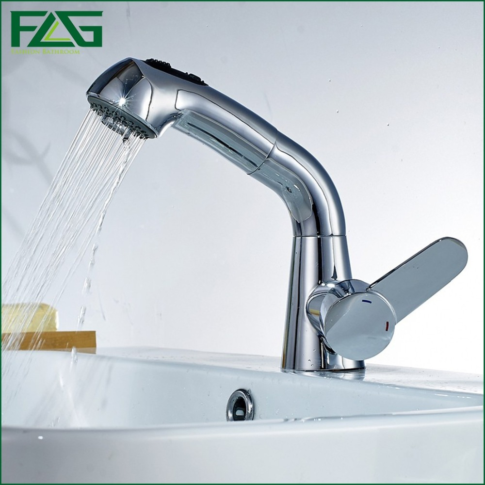 Hot Sale Kitchen Faucet Copper Chrome Rotatable Single Handle Single Hole Cold And Hot Pull Out Torneira Tap Kitchen FLG605(China (Mainland))