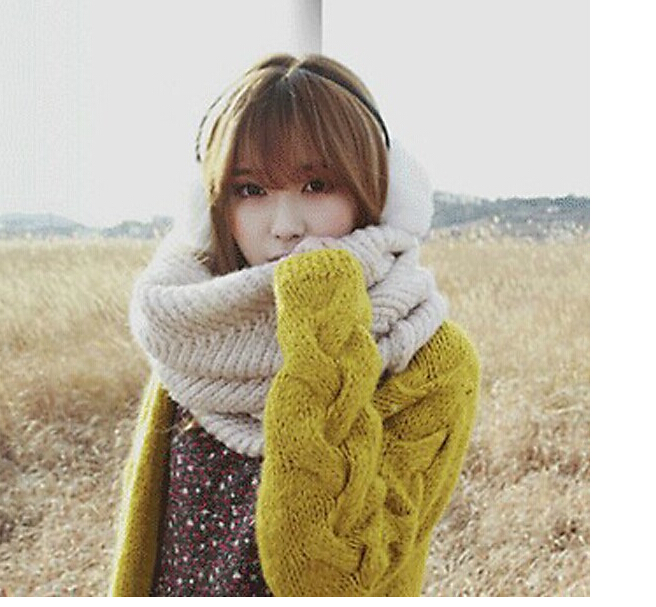 2014 New Couples Scarf Fashion Thick Warm Knitted Set Head Scarves(China (Mainland))