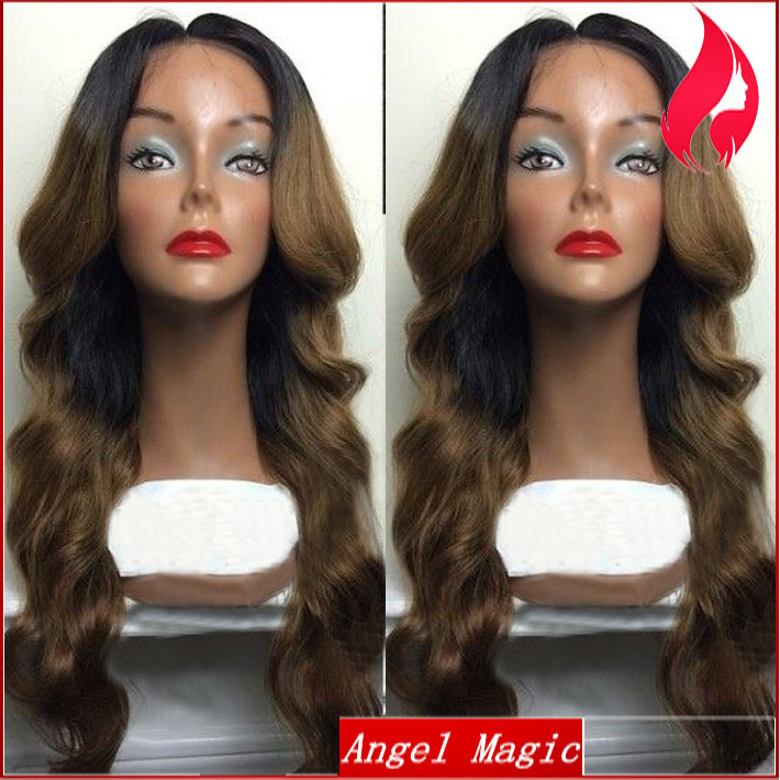 Wavy Ombre lace front wig Glueless virgin Brazilian human hair two tone color 130% density wigs with baby hair for black women(China (Mainland))