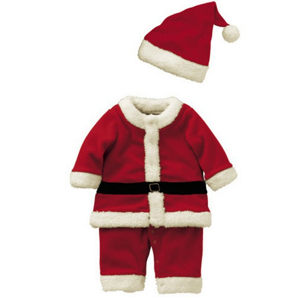 2PCS/0-3T/2015 new fashion winter clothes Santa Claus Warm fleece Romper+hat kids christmas outfits children clothing set BC1397(China (Mainland))