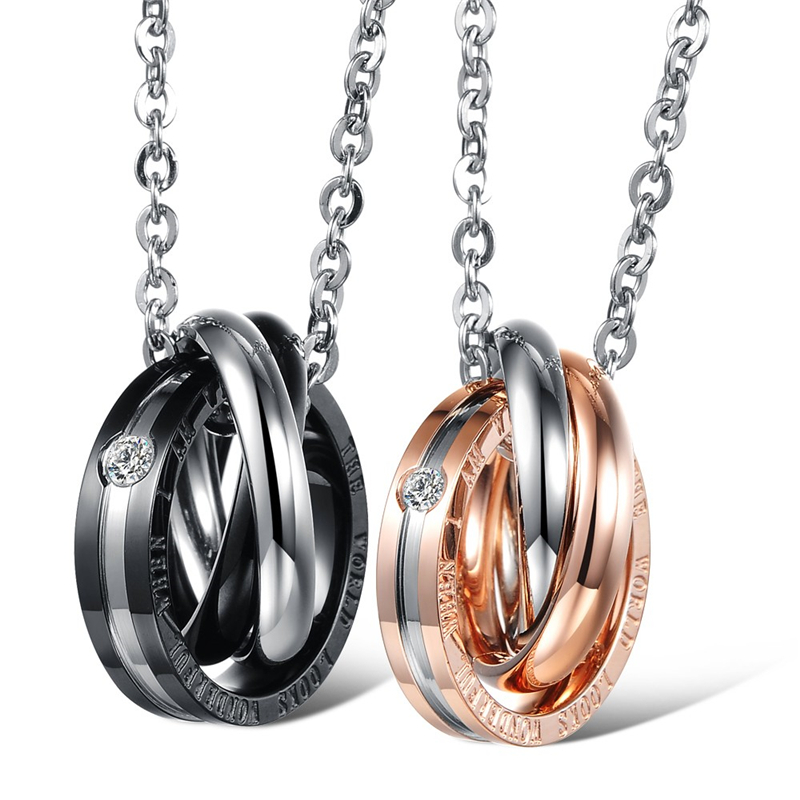 2pcs Matching Friendship Best Friends Round Circle Stainless Steel Pendant Necklaces Set Valentine's Gift Couple Puzzle Necklace(China (Mainland))