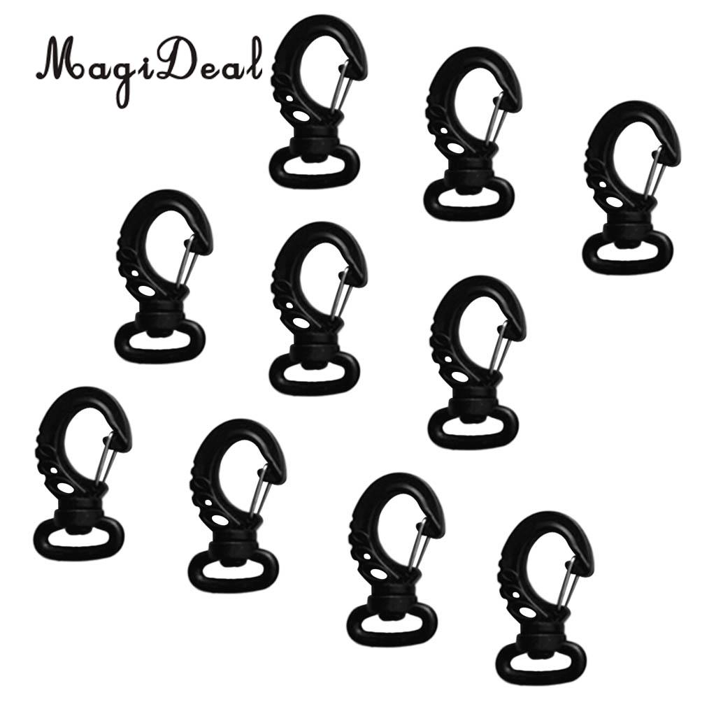 MagiDeal New Hot Sale 10 Pieces Black Plastic Swivel Spring Snap Hook Clip Fits 20mm Webbing Strap
