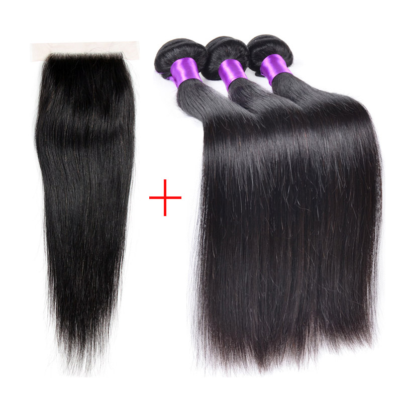 Brazilian Straight Hair With Closure 7a Mink Brazilian Virgin Human Hair With Closure Queen Hair Products With Closure Bundle<br><br>Aliexpress
