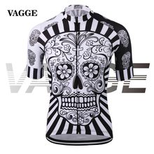 VAGGE skull sublimation printing cycling jersey wear/best 2017 pro polyester cycling clothing/summer men quick dry bicycle wear(China (Mainland))