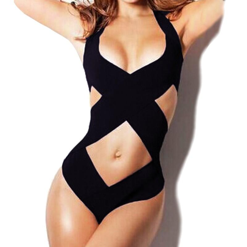 2016 Sexy Push-up 1 Cut Bandage Cintura Alta Nadar Maiô Triquini Tanga Fêmea Um Pedaço Swimwear Mulheres Monokini Maiô