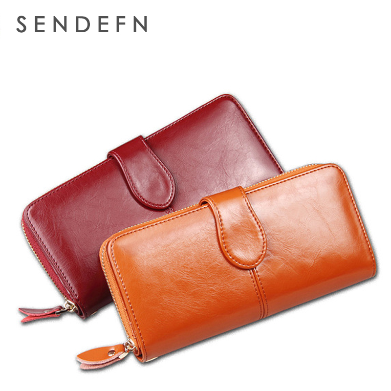 SENDEFN 100% Oil Wax Cowhide Leather Women Wallet Phone Pocket Purse Wallet Female Card Holder Lady Clutch Carteira Feminina(China (Mainland))