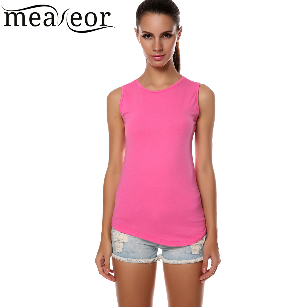 Meaneor Brand 2015 Stylish Women Summer Tank Top O-neck Sleeveless Slim Solid Casual T-shirt(China (Mainland))