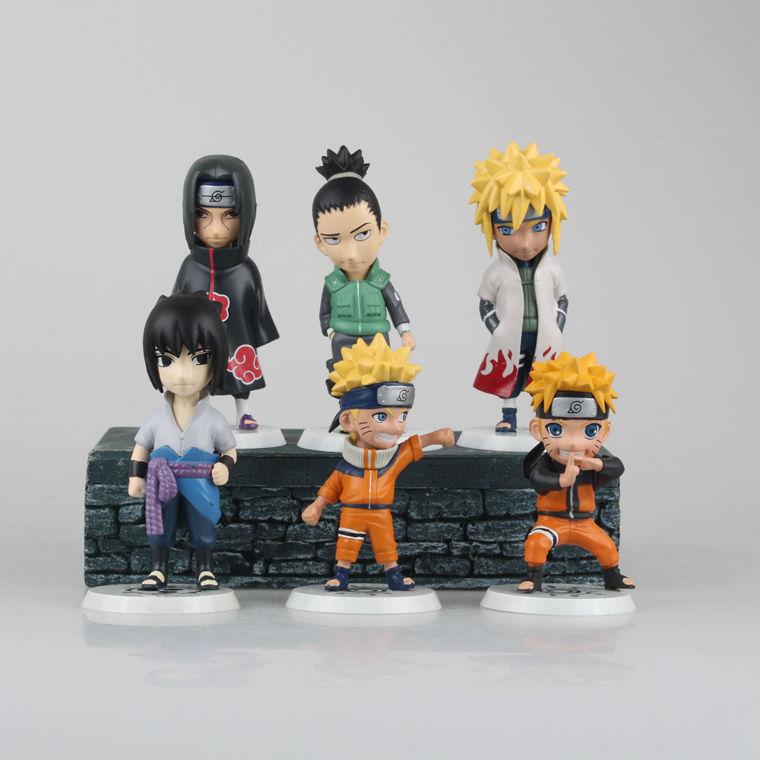 Naruto Action Japanese Anime Uchiha Sasuke Itachi Figure Toys Juguete Bonecos 9cm PVC 6PCS/Set Model Brinquedos Kids Toys 0011(China (Mainland))