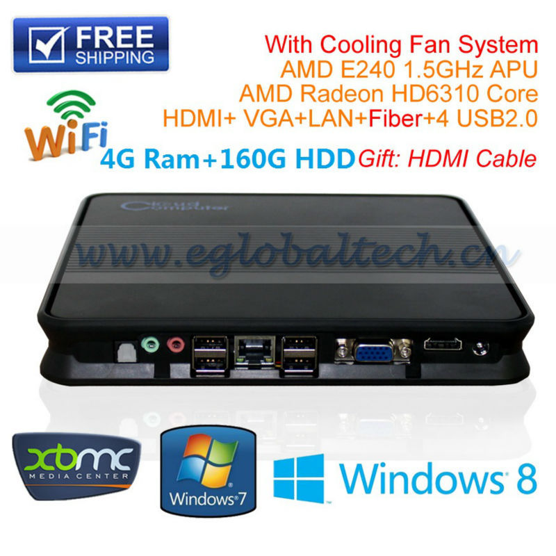 Portable PC Embedded Computer Thin Client With Mini-ITX Motherboard 4G Ram 160G HDD AMD E240 1.5Ghz DHL Free Shipping(China (Mainland))