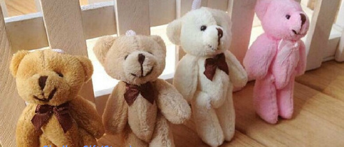 Size Smallest 8CM Joint Bowtie Teddy Bear Mix Colors Plush TOY DOLL ; Plush Stuffed TOY Wedding Gift Bouquet Decor DOLL TOY(China (Mainland))