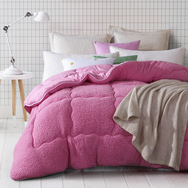 Camelhair warm winter wool quilt comforter/duvet/blanket Lamb Down Fabric filling king queen size single double pink Cashmere(China (Mainland))