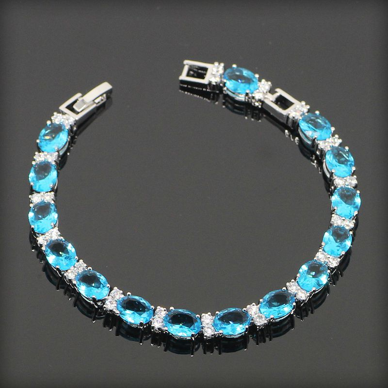 2015 New Charming Blue Turquoise Topaz Jewelry Sterling Silver Link Chain Bracelets For Women Free Gift Box&amp;Free Shipping <br><br>Aliexpress
