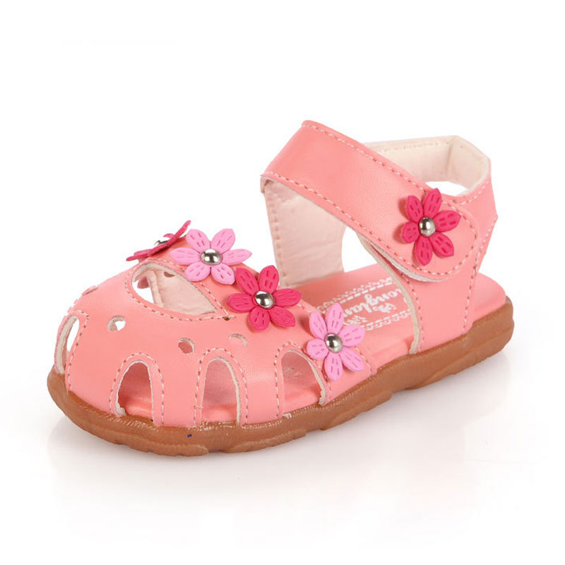 high quality children's sandals leather single shoes kids child girls princess Flower flat Girls Shoes(China (Mainland))